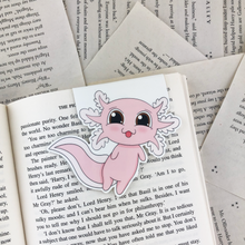 Load image into Gallery viewer, kawaii cute pink laminated axolot magnetic bookmark