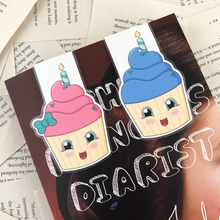 Load image into Gallery viewer, birthday cupcake laminated magnetic bookmarks in pink with a green bow, and blue