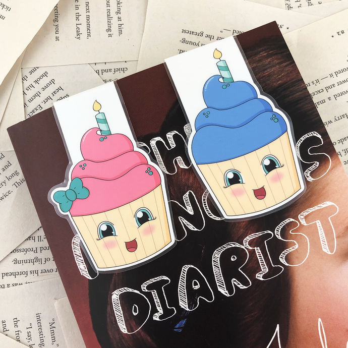 birthday cupcake laminated magnetic bookmarks in pink with a green bow, and blue