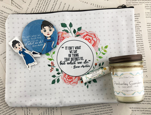 "Jane Austen themed gift set featuring pocket mirror, laminated magnetic bookmark, limoncello lip balm, Pemberly gardens candle, and zip up pouch with the quote ""it isn't what we say or think that defines us, but what we do"""