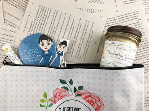 Jane Austen themed gift set featuring pocket mirror, laminated magnetic bookmark, limoncello lip balm, Pemberly gardens candle, and zip up pouch
