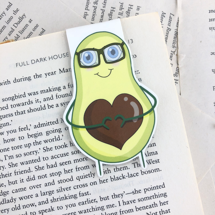happy avocado laminated magnetic bookmark