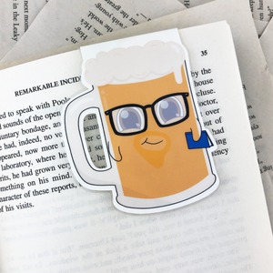 nerdy hipster beer bug laminated magnetic bookmark