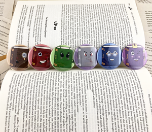 set of six book genre buttons