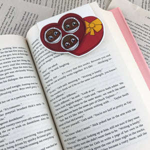 cute box of chocolates laminated magnetic bookmark
