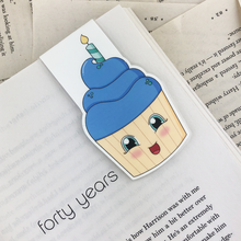 Load image into Gallery viewer, laminated magnetic bookmark featuring a blue cupcake with a birthday candle