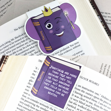 "Load image into Gallery viewer, purple fairy fantasy laminated magnetic bookmark with words ""fairytales are more than true not because they tell us that dragons exist but because they tell us that dragons can be beaten"""