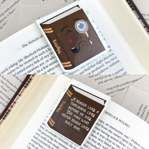 "brown sleuth mystery laminated magnetic bookmark with words ""a reader lives a thousand lives before he dies, the man who never reads lives only one"""