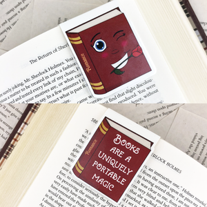 "red romance laminated magnetic bookmark with words ""books are a uniquely portable magic"""