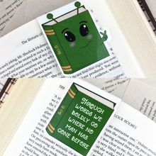 "Load image into Gallery viewer, green alien sci-fi laminated magnetic bookmark with words ""through words we boldly go where no man has gone before"""