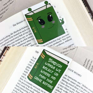"green alien sci-fi laminated magnetic bookmark with words ""through words we boldly go where no man has gone before"""