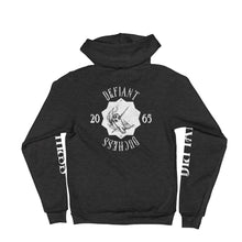 Load image into Gallery viewer, Defiant Duchess Hoodie sweater w/sleeve print