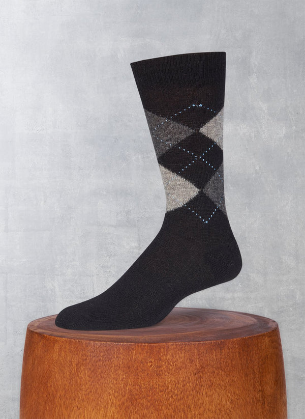 Cashmere Argyle Sock in Black with Rich Heather Grey