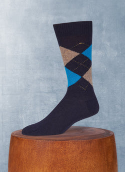 Cashmere Argyle Sock with Oatmeal and Teal