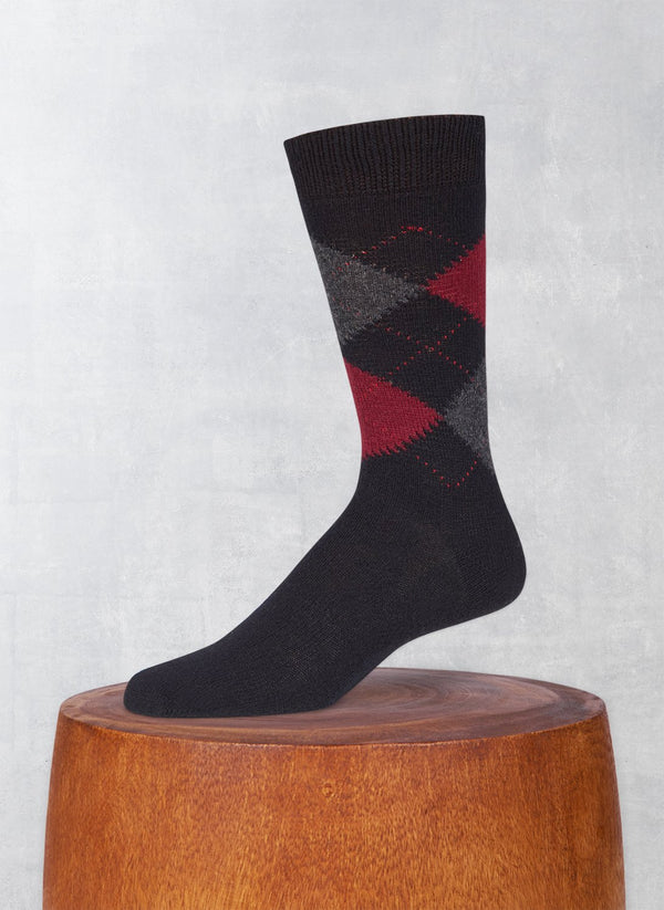 Cashmere Argyle Sock in Black with Bordeaux and Charcoal Melange