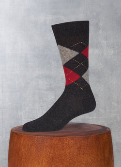 Cashmere Argyle Sock in Charcoal Heather with Wine and Heather Grey