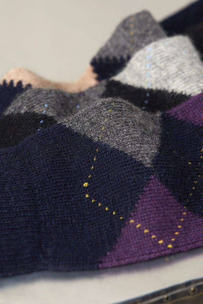 Cashmere Argyle Sock in Navy with Amethyst and Grey Heather