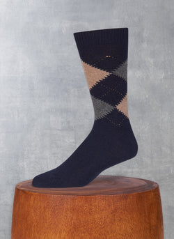 Cashmere Argyle Sock in Taupe Heather and Charcoal Heather