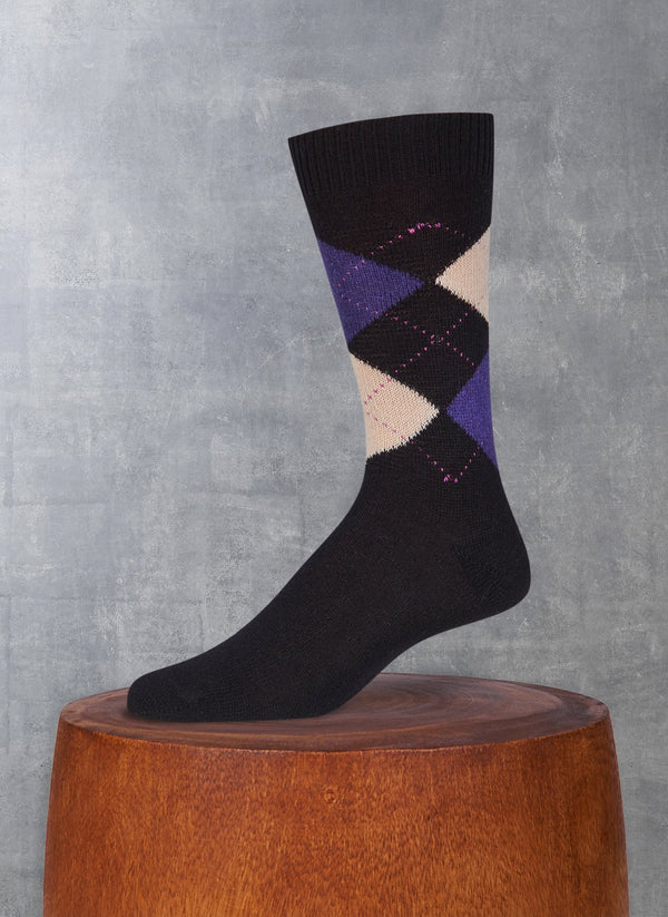 Cashmere Argyle Sock in Black with Deep Purple and Ivory