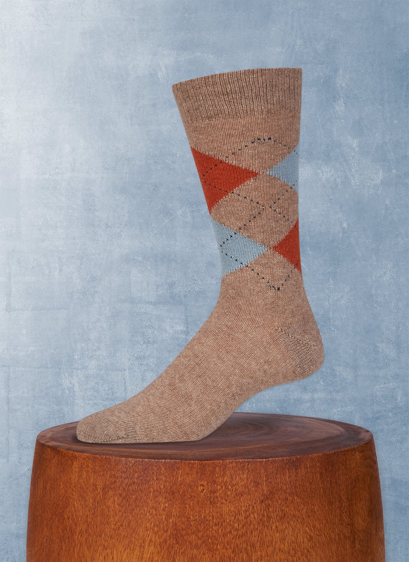 Cashmere Argyle Sock in Heather Taupe with Rust and Powder Blue
