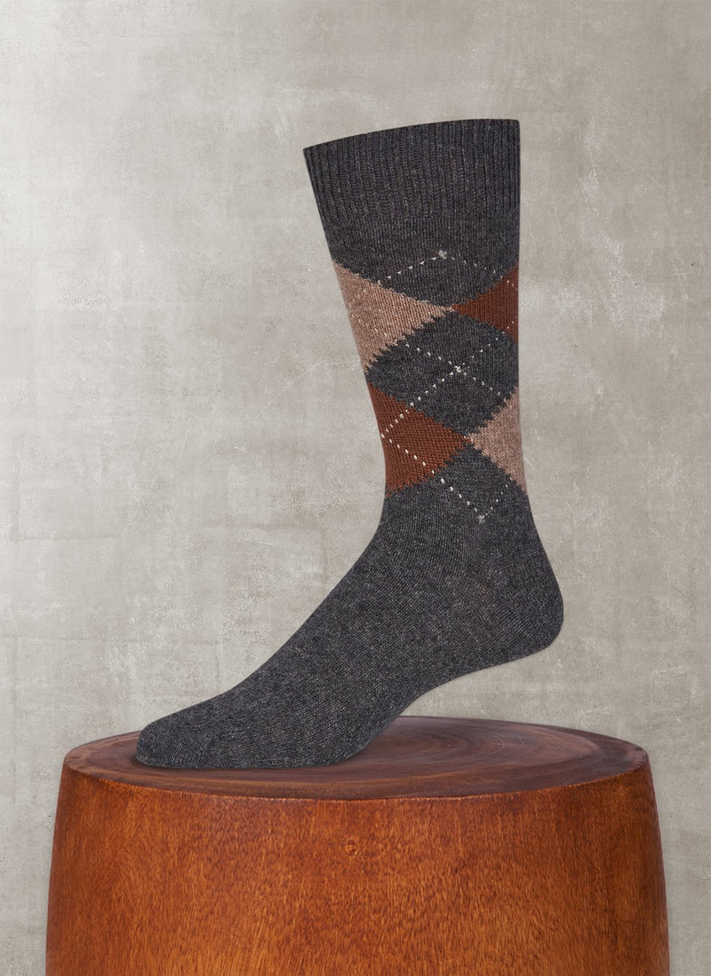 Cashmere Argyle Sock in Medium Grey Heather with Camel and Taupe Heather