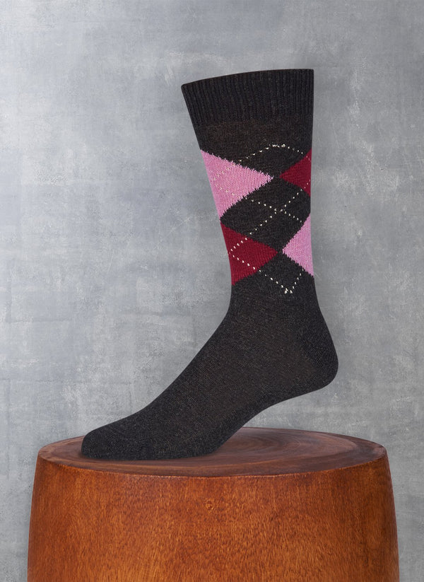 Cashmere Argyle Sock in Charcoal Heather with Pink and Burgundy