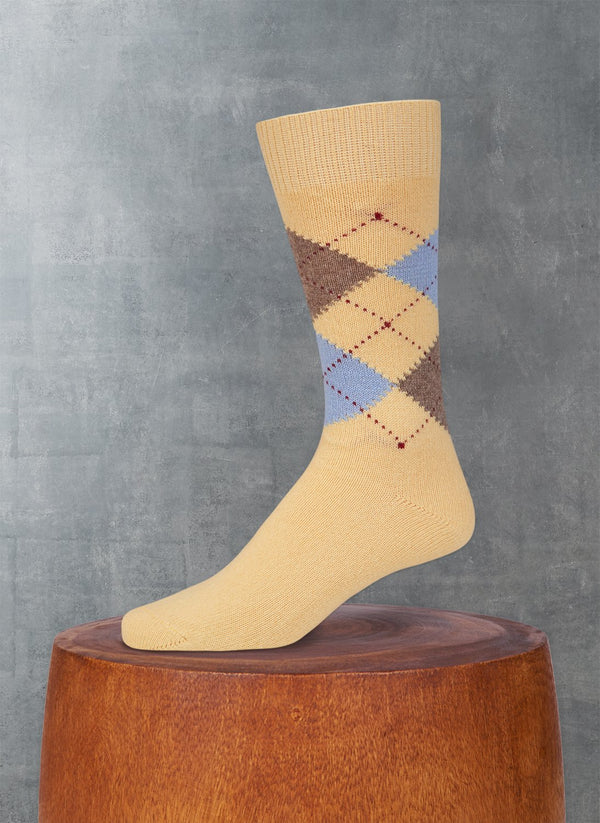 Cashmere Argyle Sock in Soft Yellow with Periwinkle and Heather Taupe