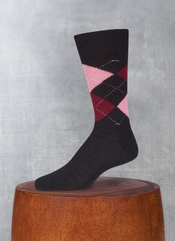 Cashmere Argyle Sock in Black with Burgundy and Pink