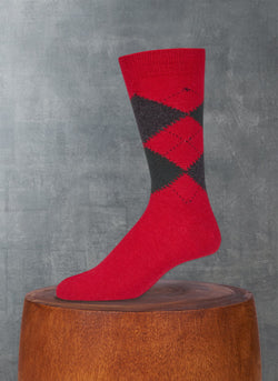 Cashmere Argyle Sock in Fire Engine Red with Forest Green and Charcoal