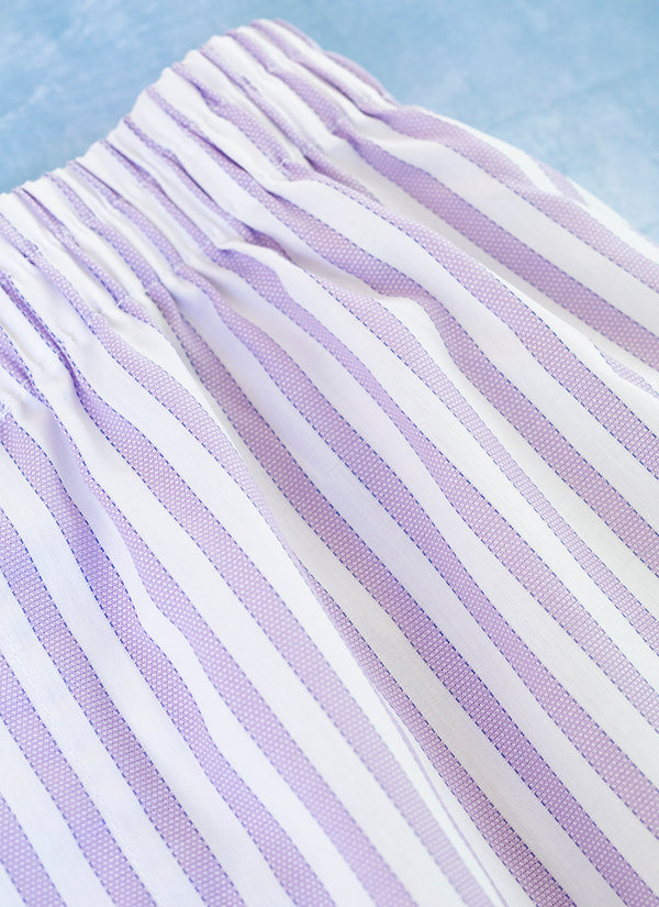The Perfect Fashion Boxer Short in Lavender and White Textured Stripe