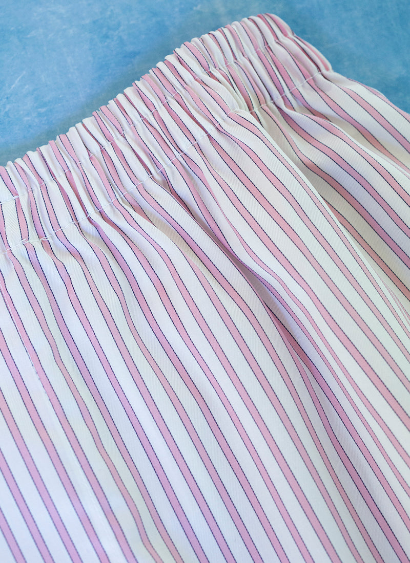 The Perfect Fashion Boxer Short in Light Pink and Navy Stripes