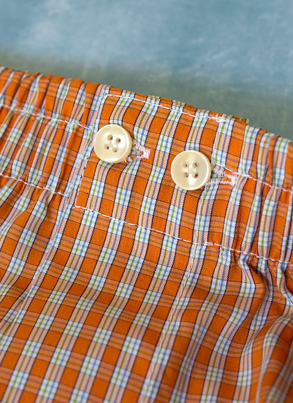 The Perfect Fashion Boxer Short in Small Orange Plaid