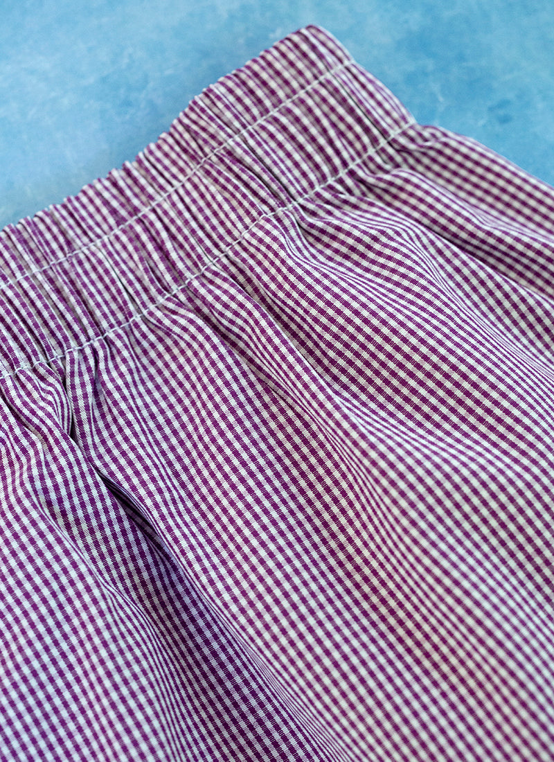 The Perfect Fashion Boxer Short in Purple and White Micro Check