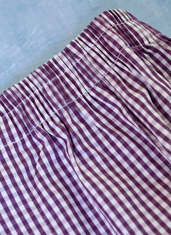 The Perfect Fashion Boxer in Small Purple and White Gingham