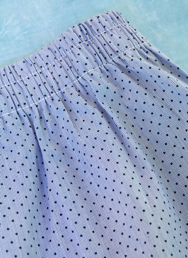 The Perfect Fashion Boxer Short in Blue and White Micro Stripe with Navy Dots