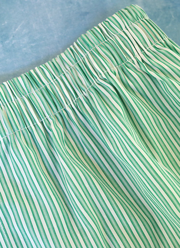 The Perfect Fashion Boxer Short in Green and White Stripe