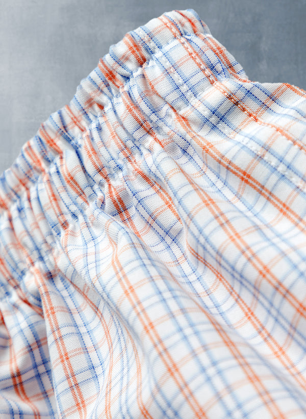 The Perfect Boxer Short in Orange and Blue Plaid