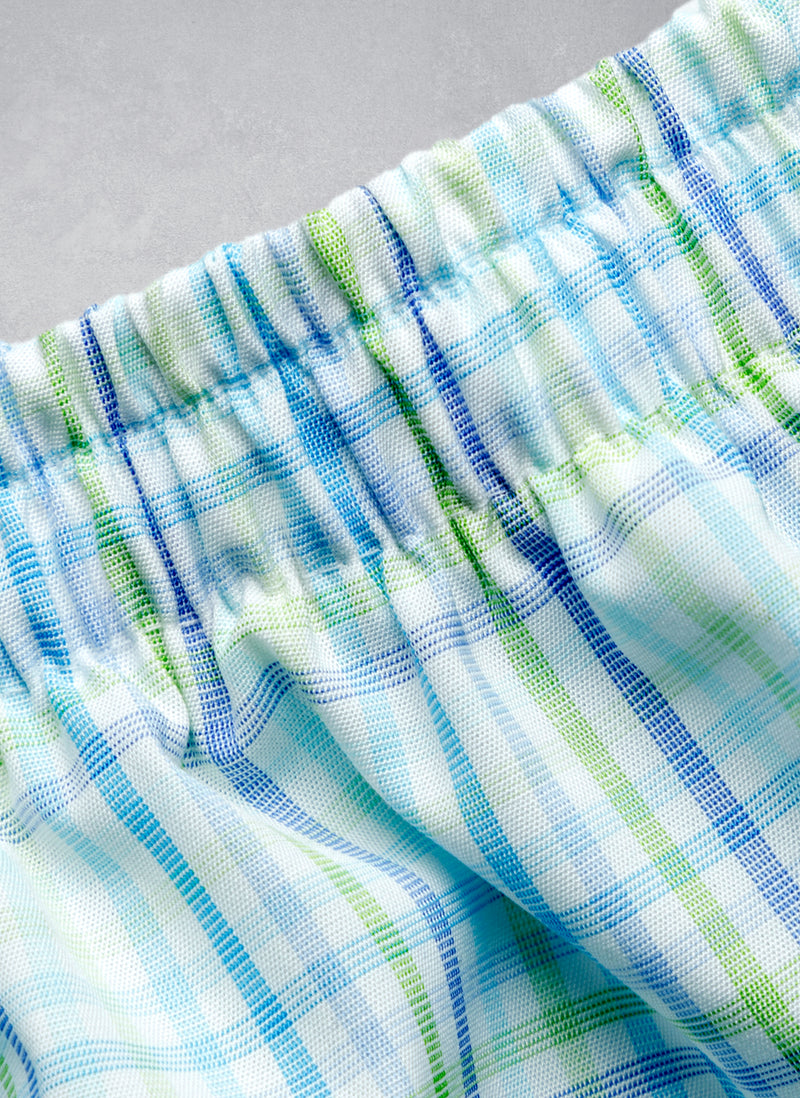 The Perfect Boxer Short in Light Green and Multi Blue Plaid