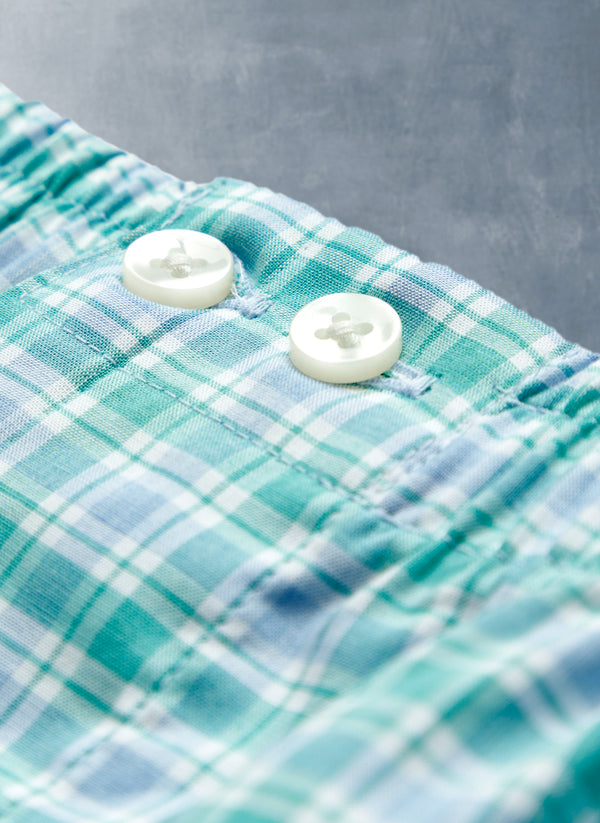 The Perfect Boxer Short in Green and Blue Plaid