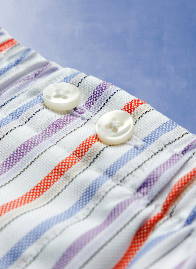 The Perfect Boxer Short in White Multi Stripe