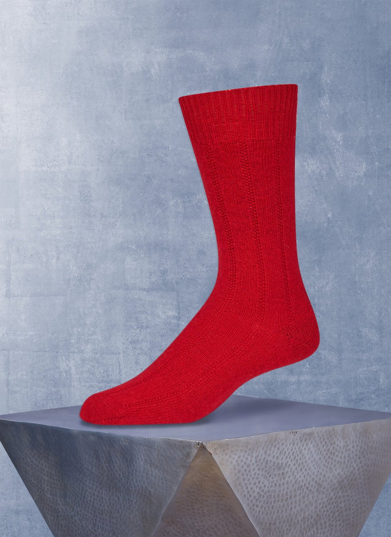 Cashmere Rib Sock  in Red