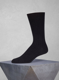 75% Cashmere Rib Sock in Black