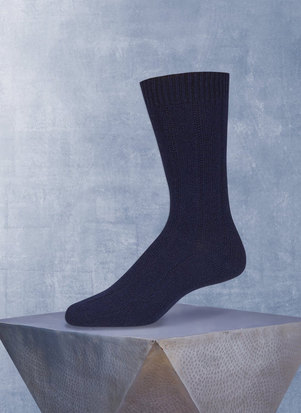 75% Cashmere Rib Sock in Navy