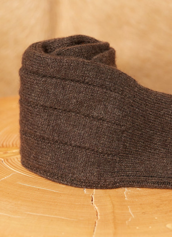 75% Cashmere Rib Sock in Chocolate Brown