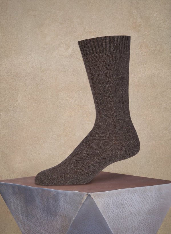 Cashmere Rib Sock  in Chocolate Brown