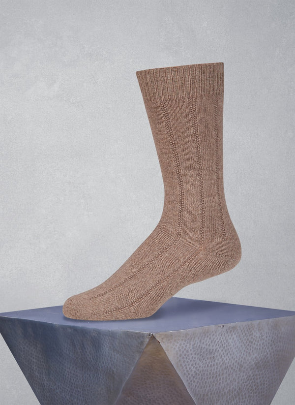 75% Cashmere Rib Sock in Heather Taupe