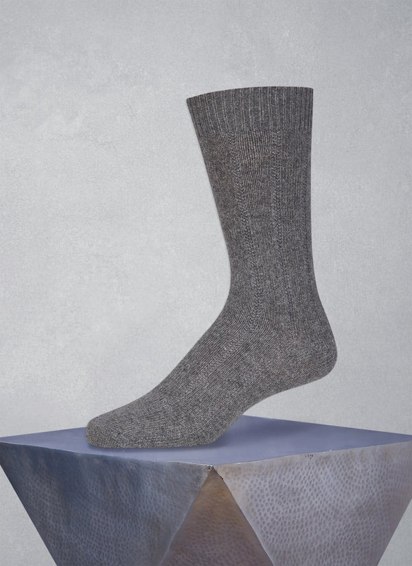 75% Cashmere Rib Sock in Heather Grey