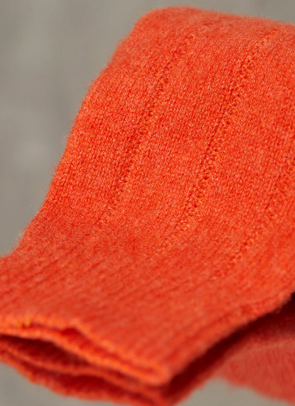 75% Cashmere Rib Sock in Garnet Orange