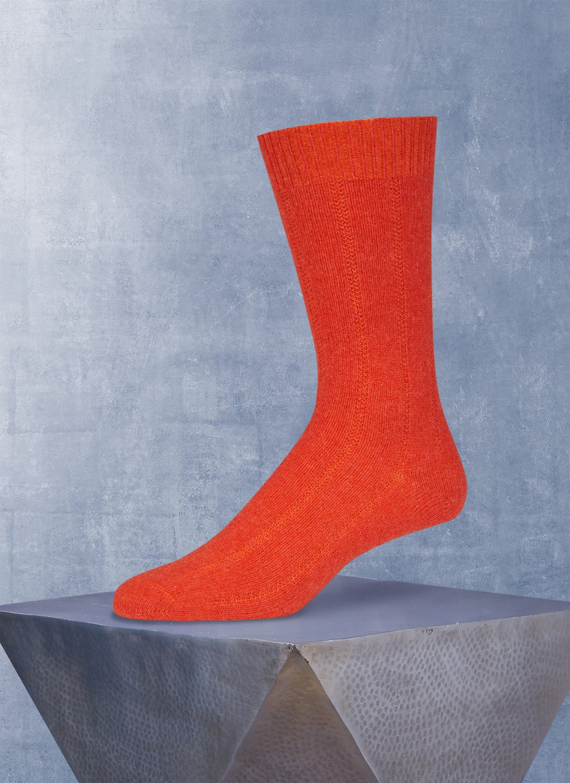 Cashmere Blend Rib Sock in Orange