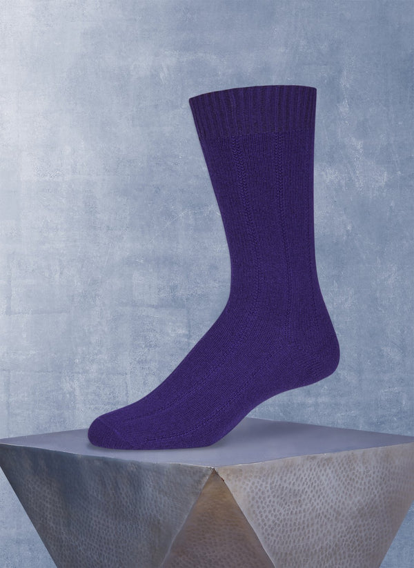 75% Cashmere Rib Sock in Deep Royal Purple